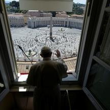 Pope Francis leads the Regina Coeli prayer at the Vatican