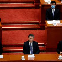Chinese President Xi Jinping and officials attend for the opening session of CPPCC in Beijing