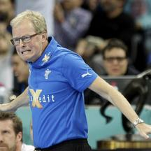 'Denmark\'s coach Ulrik Wilbek reacts during their Men\'s Handball World Championship final match against Spain at the Palau Sant Jordi arena in Barcelona January 27, 2013.  REUTERS/Gustau Nacarino (S