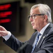 Jean-Claude Juncker , the president of the European Commission holds a press conference on the Greek Crisis at European Commission headquarters in Brussels, Belgium on 29.06.2015 Juncker urged Greeks to vote 'yes' in the bailout referendum and against the