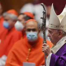 Pope Francis leads a mass with newly elected Cardinals- Vatican