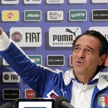 'Italian national football coach team Cesare Prandelli gestures during a press conference prior the training session of his team at the Italian Football Federation techincal center of Coverciano near