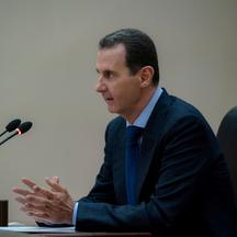 Syrian President Bashar al-Assad addresses the government committee that oversees measures to curb the spread of the coronavirus disease (COVID-19), in Damascus