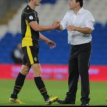 'Belgium Manager Marc Wilmots celebrates with scorer of their second goal Jan Vertonghen after their 2-0 win over Wales during the 2014 Fifa World Cup Qualifying match at the Cardiff City Stadium, Car