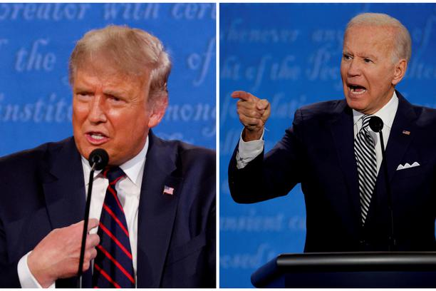 FILE PHOTO: A combination picture shows U.S. President Donald Trump and Democratic presidential nominee Joe Biden during the first 2020 presidential campaign debate, in Cleveland