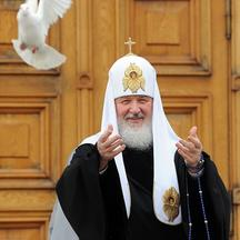 'Russian Orthodox Patriarch Kirill releases white doves to mark Annunciation Day in the Kremlin in Moscow, on April 7, 2011. In Christianity, Annunciation celebrates the relevation to the Virgin Mary
