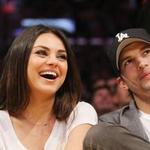 Celebrities watch the LA Lakers vs. Phoenix Suns at the Staples Center  *****FILE PHOTO*** MILA KUNIS PREGNANT - REPORT Actress MILA KUNIS is reportedly expecting her first child with her new fiance ASHTON KUTCHER.   Just weeks after the Black Swan beauty