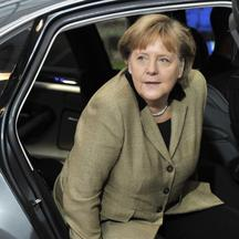 \'German Federal Chancellor Angela Merkel arrives for a European Union summit at the EU headquarters on January 30, 2012 in Brussels. European leaders bid to close a chapter in the debt crisis today w